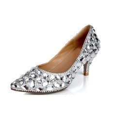 Women's Real Leather Cone Heel Closed Toe Pumps With Rhinestone