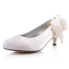 Women's Satin Cone Heel Closed Toe Pumps With Imitation Pearl Rhinestone