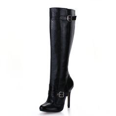 Vrouwen Kunstleer Stiletto Heel Knie Lengte Laarzen schoenen