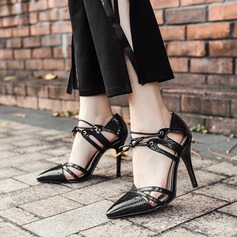 Women's PU Stiletto Heel Pumps Closed Toe With Lace-up shoes