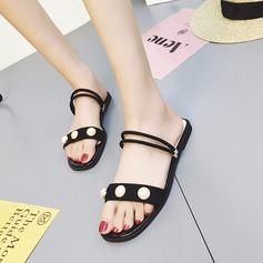 Femmes Suède Talon plat Sandales Chaussons avec Perle d'imitation chaussures