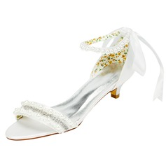 Women's Satin Kitten Heel Sandals With Beading Crystal