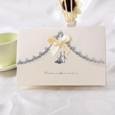 Bride & Groom Style Top Fold Invitation Cards With Ribbons (Set of 10)
