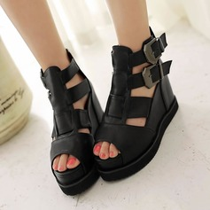 Women's Leatherette Flat Heel Sandals Flats Wedges Peep Toe With Buckle Zipper Hollow-out shoes