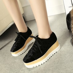 Women's Suede Wedge Heel Wedges With Lace-up shoes