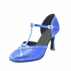 Women's Leatherette Heels Pumps Latin With T-Strap Dance Shoes