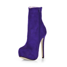 Suede Stiletto Heel Pumps Platform Closed Toe Ankle Boots shoes
