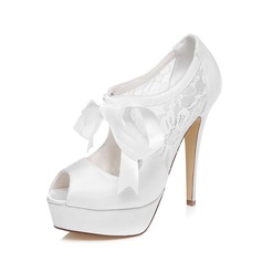 Women's Satin Stiletto Heel Peep Toe Sandals