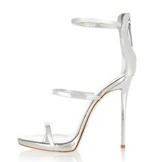 Frauen Lackleder Stöckel Absatz Sandalen mit Reißverschluss Schuhe