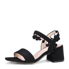 Femmes Suède Talon bottier Sandales Escarpins À bout ouvert avec Tassel chaussures