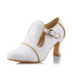 Women's Lace Spool Heel Closed Toe Pumps With Buckle