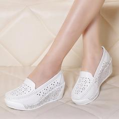 Kadın Gerçek Deri Dolgu Topuk Kapalı Toe Takozlar Ile Içi boş-out ayakkabı