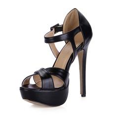 Leatherette Stiletto Heel Sandals Pumps Platform Peep Toe With Buckle shoes