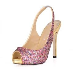 Vrouwen Sprankelende Glitter Stiletto Heel Peep Toe Sandalen Slingbacks met Lovertje
