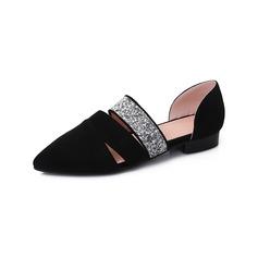 Women's Leatherette Flat Heel Flats Closed Toe With Rhinestone shoes
