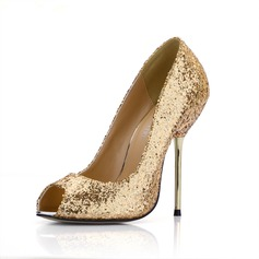 Women's Sparkling Glitter Stiletto Heel Peep Toe Sandals With Sequin
