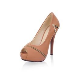 Couro Salto agulha Sandálias Plataforma Peep toe com Zíper sapatos