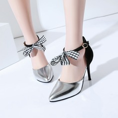 Women's Leatherette Stiletto Heel Pumps Closed Toe With Bowknot Lace-up shoes