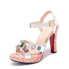 Femmes Vrai cuir Talon stiletto Sandales Beach Wedding Shoes avec Boucle Strass