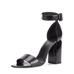 Femmes Vrai cuir Talon bottier Sandales Escarpins À bout ouvert avec Boucle chaussures