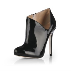 Patent Leather Stiletto Heel Pumps Closed Toe Ankle Boots shoes