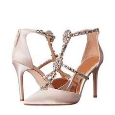 Frauen Satin Stöckel Absatz Peep Toe Sandalen Beach Wedding Shoes mit Strass