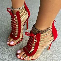 Femmes Similicuir Talon stiletto Sandales avec Zip Dentelle Ouvertes chaussures