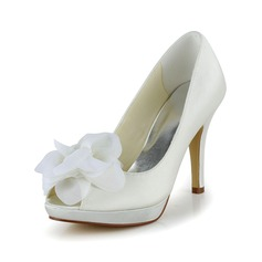 Women's Satin Stiletto Heel Peep Toe Pumps With Flower