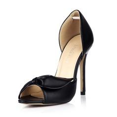 Similicuir Talon stiletto Sandales Escarpins À bout ouvert avec Un nœud chaussures