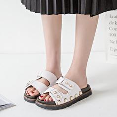 Femmes PU Talon plat Sandales Chaussons avec Rivet chaussures