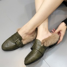 Women's Leatherette Flat Heel Flats Closed Toe With Buckle Fur shoes