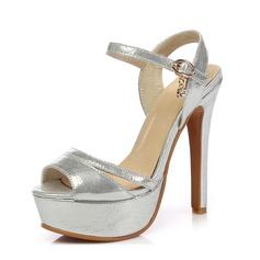 Women's Leatherette Stiletto Heel Sandals Platform Slingbacks shoes