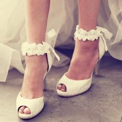 Femmes Dentelle Talon stiletto À bout ouvert Plateforme Sandales Beach Wedding Shoes avec Une fleur