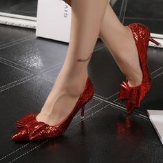Femmes Similicuir Talon stiletto Escarpins avec Bowknot Paillette chaussures