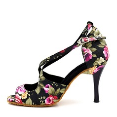 Women's Canvas Heels Sandals Latin With Ankle Strap Hollow-out Dance Shoes