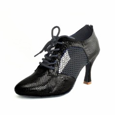 Women's Leatherette Heels Sandals Latin With Lace-up Dance Shoes