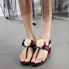 Women's Leatherette Flat Heel Sandals Peep Toe With Flower shoes