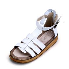 Femmes Vrai cuir Talon plat Sandales À bout ouvert avec Boucle Ouvertes chaussures