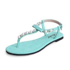 Konstläder Flat Heel Sandaler Slingbacks med Oäkta Pearl skor