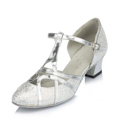 Women's Sparkling Glitter Heels Sneakers Modern With T-Strap Dance Shoes