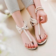 Kvinnor Konstläder Flat Heel Sandaler Platta Skor / Fritidsskor Peep Toe med Oäkta Pearl Zipper skor