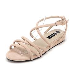 Women's Suede Flat Heel Sandals Slingbacks shoes
