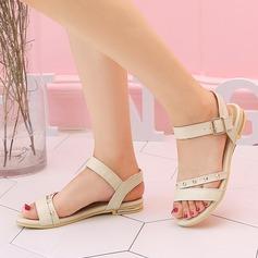 Dla kobiet PU Płaski Obcas Sandały Plaskie Otwarty Nosek Buta Bez Pięty Z Nit Klamra obuwie