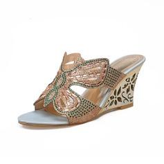 Kadın Suni deri Dolgu Topuk Sandalet Takozlar Ile Yapay elmas ayakkabı