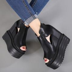 Kadın Suni deri Daireler Peep Toe Ile Toka Fermuar Içi boş-out ayakkabı