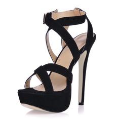 Kadın Süet İnce Topuk Sandalet Platform Ile Toka ayakkabı