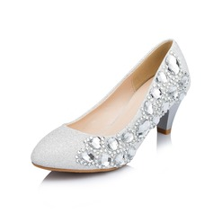 Women's Sparkling Glitter Cone Heel Closed Toe Pumps With Rhinestone