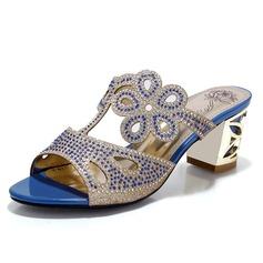 Kiiltonahka Chunky heel Sandaalit Avokkaat jossa Tekojalokivi kengät