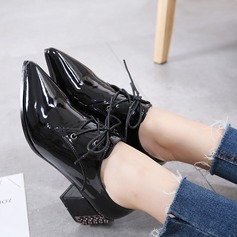 Women's PU Chunky Heel Pumps Closed Toe With Rivet Lace-up shoes