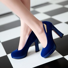 Vrouwen Suede Chunky Heel Pumps Plateau Closed Toe met Lovertje schoenen